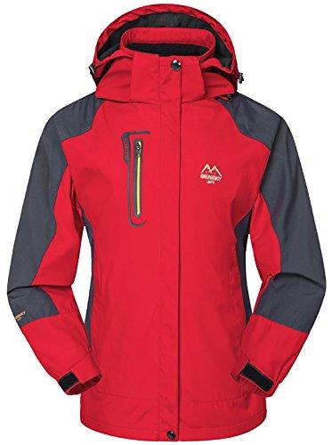 Mochoose Femme Outdoor Mountain Impermable Coupe-Vent Softshell de Ski  Capuche Veste Vtement de Sport de Pluie Camping la Pche Veste de Chasse et Travail Jacket Rouge