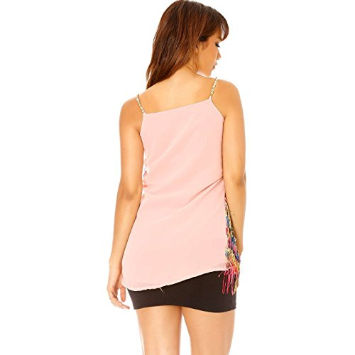 Miss Wear Line - Robe rose style charleston à franges multicouleurs
