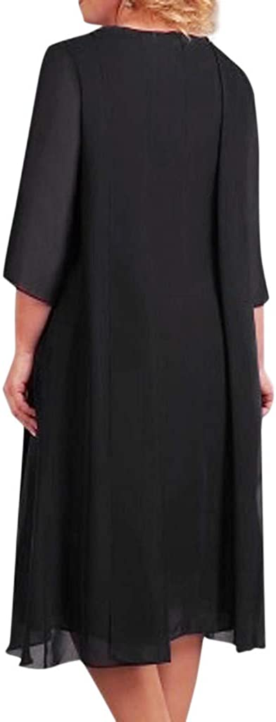 FEDULK Womens Cocktail Dress Plus Size Sequin Neck Summer Swing Sundress Evening Party Short Midi Dress