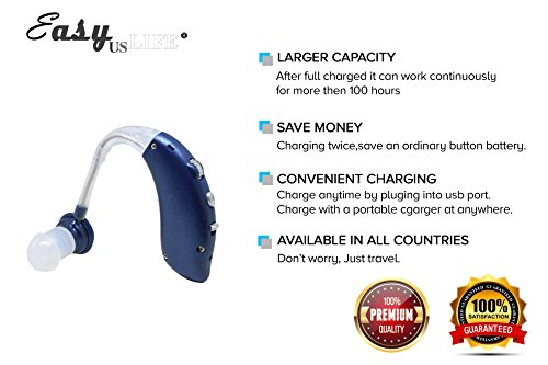 Dark Blue,New behind-the-ear (BTE) Digital Hearing Ear Amplifier Kit By EASYUSLIFE, Rechargeable and Interchangeable, Adjustable Volume Control, Suitable For Men and Women by EASYUSLIFE (Image #2)