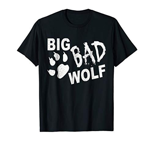 Big Bad Wolf Paw Distressed White Funny Novelty T Shirt -