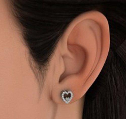 14K Or blanc 0,19CT TW Round-cut-diamond (IJ   SI) Boucles d'oreille à tige