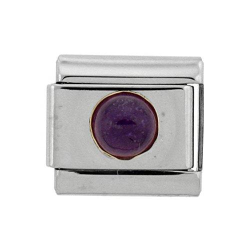 February Birthstone Italian Charm - Stainless Steel 18k Gold February Birthstones Charm for Italian Charm Bracelets