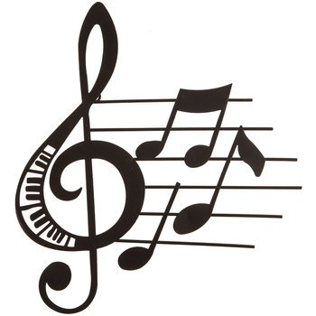 Aunt Chris' Products - Music Metal Wall Decor - Matte Black Color - Use Indoor Or Outdoor - Treble Clef And Notes With Piano Key Cut-outs And Little Music - Clef Hanger