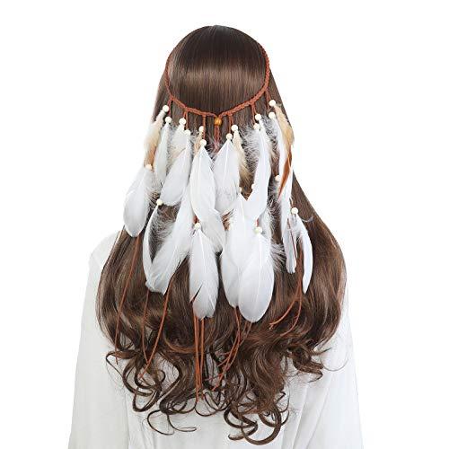 AWAYTR Feather Headband Hippie Headwear - Women Bridal