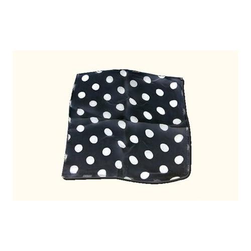 100% Pañuelo de seda Negro con lunares blancos (22,5 cm cuadrados)