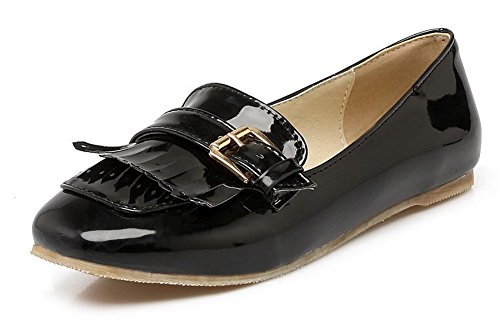 Pull Toe Women's Square Black 41 Shoes Solid Heels Odomolor On Low Pumps tYCUIxq