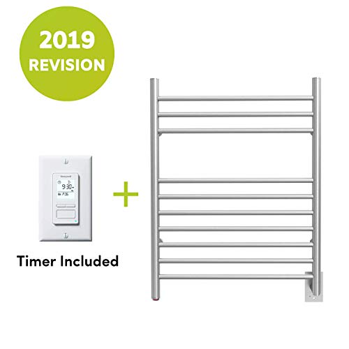 WarmlyYours 10-Bar Infinity Towel Warmer, Hardwired, Brushed Stainless Steel ()