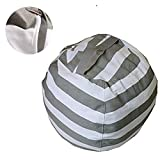 Sit and Stuff Storage Bean Bag Cover,Stuffed Animal Storage Bean Bag Chair ,Perfect Storage Solution For Extra Blankets / Pillows / Covers / Towels / Clothes by Mxinran(Big, Grey/White Striped)