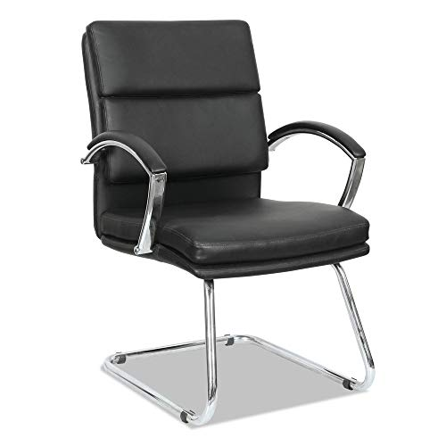 (Alera NR4319 Neratoli Series Slim Profile Guest Chair, Black Soft Leather/Chrome Frame)