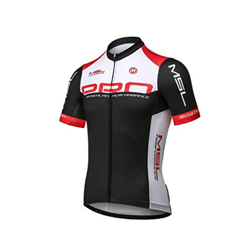 (Mysenlan Men's Cycling Jersey Short Sleeve Shirts Bike Bicycle Breathable Riding Sports Jerseys Black L)