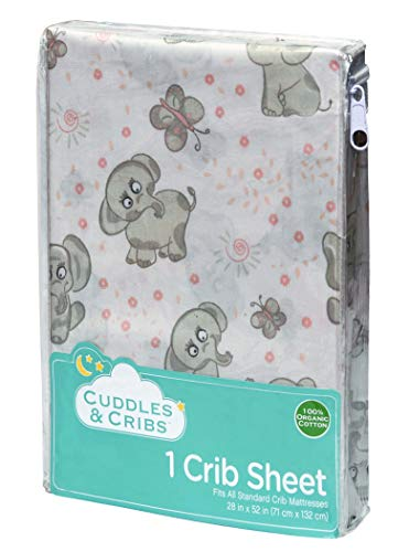 Cuddles & Cribs 1 Pack GOTS Certified Organic Cotton Fitted Crib Sheet - Blush, Elephants