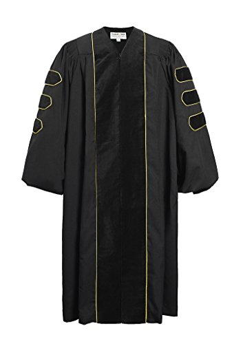 GraduationMall Deluxe Doctoral Graduation Gown for Faculty and Professor Black Velvet with Gold Piping 51(5'6