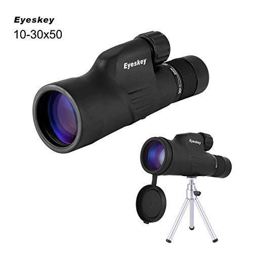 Eyeskey HD 10-30x50 High Powered Zoom Monocular Telescope - Waterproof and Fog-proof - Bright and Clear FMC Lens - Coated Bak-4 Prism - Single Hand Focus Scope for Concert