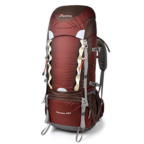 Mountaintop 55L+10L Water-resistant Hiking Backpack/Trekking Bag Backpacking/Climbing Backpack/Camping Backpack/Travel Backpack for Mountaineering with Rain Cover-651I (MaroonII2)