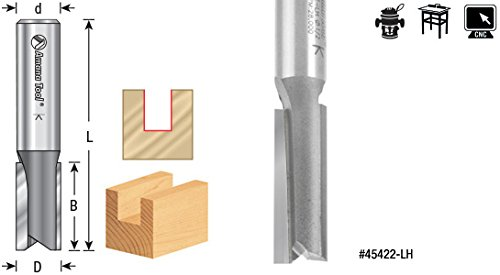 Amana Tool 45416-LH Carbide Tipped Left Hand Plunge 7//16 D x 1-1//4 CH x 1//2 Inch SHK Router Bit