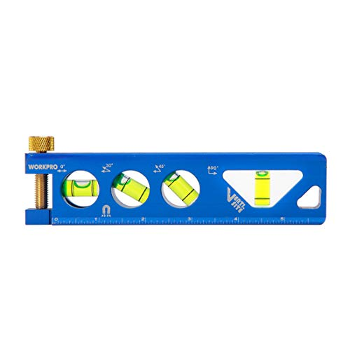 (WORKPRO Torpedo Level, Magnetic, Verti. Site 4 Vial for Conduit Bending,Aluminum Alloy Construction,6.5-inch)