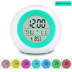 Kids Alarm Clock, DAYOO LED Digital Clock for Boys Girls, 7 Color Changing Night Light Clock for Kids Bedroom Bedside, Children's Clock with Indoor Temperature, Touch Control and Snooze, Gift for Kids