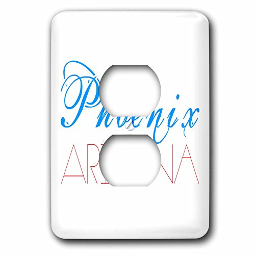 3dRose Alexis Design - American Cities - American Cities - Phoenix Arizona red and blue on white - Light Switch Covers - 2 plug outlet cover - In Arizona Outlets Phoenix