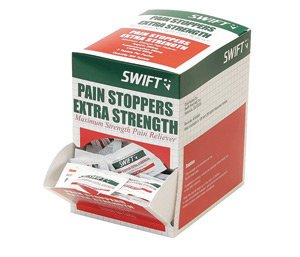 Honeywell 163250 Swift First Aid Pain Stoppers Extra Strength Pain Reliever Tablet (125 Pack Per Box, 1 Box) ()