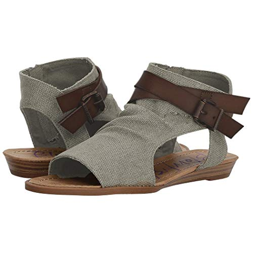 Iekofo Women Flat Sandals Roman Open Toe Buckle Solid Sandal Flats Grey