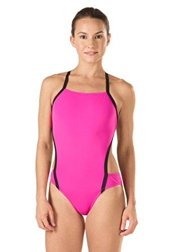 Speedo Women's Vee 2 Color Block Sport Monokini Swimsuit, Pink, Size - One All Speedo Swimsuit In