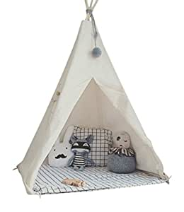 LITTLE DOVE Kid's Foldable Teepee Play Tent One Four Ploes Style White