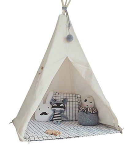 little dove Kids Foldable Teepee Play Tent with Carry Case, Banner, Fairy Lights, Feathers, Floor Mat , Four Ploes Style Raw White Color - New Version -