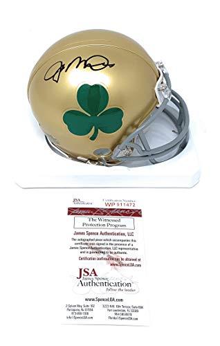 (Joe Montana Notre Dame Fighting Irish Signed Autograph Shamrock Mini Helmet JSA Witnessed)