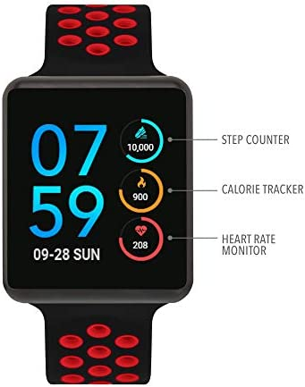 iTouch Air Special Edition Smartwatch Heart Rate Monitor, Blood Oxygen Monitor, Pedometer, for Android and iOS Smart Phones – Perforated Silicone Strap Black Red, 45mm Medium Large