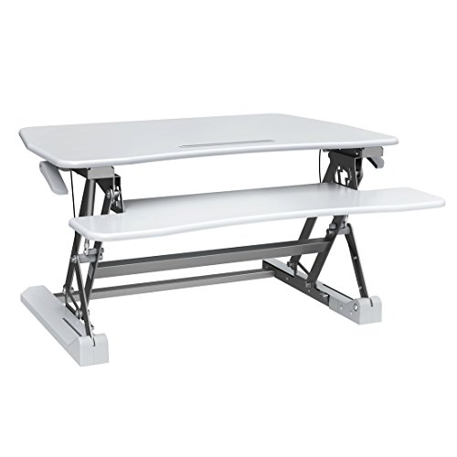 Good Life Height Adjustable Standing Desk 35'' Wide Platform Vertical Converter Riser Stand up Sit Stand Desk Monitor Stand Computer Table White ELC389 by GOOD LIFE USA