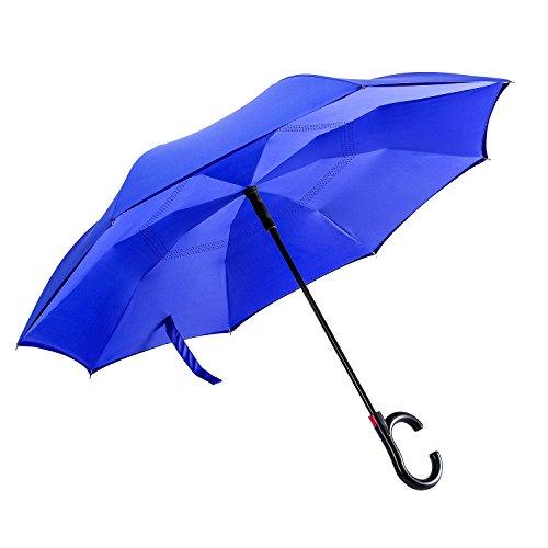 Automatic Open Reverse/Inverted Umbrella (Black/Navy Blue) - 6