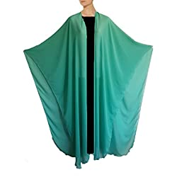 Egypt gift shops Full Length Sexy Chiffon Kimono Over Dress Abaya Kaftan Pashmina Shawls Cape Wear (Turquoise)