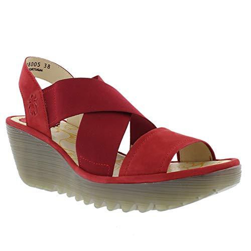 FLY London Women's Yaji Wedge Heel Sandals 39 C (M) EU/ 8 B(M) US Lipstick Red Cupido