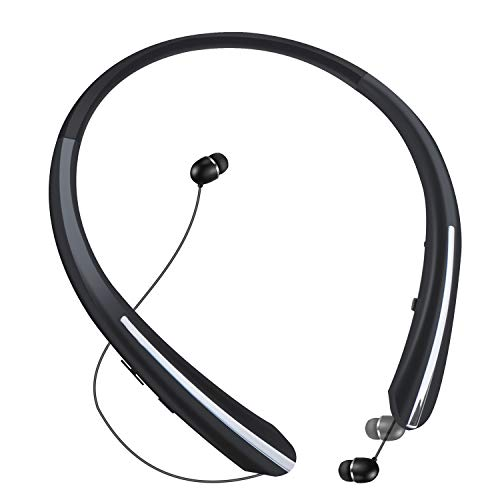 Bluetooth Retractable Headphones, Aidan fly Wireless Earbuds Neckband Headset Sports Noise Cancelling Stereo Earphones with Mic (15 Hrs Playtime, Call Vibrate Alert, Jet Black)