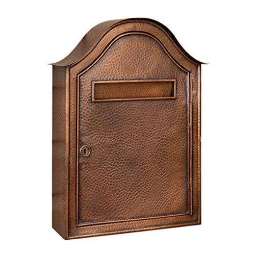 Naiture Copper Large Hammered Wall-Mount Mailbox in Antique Copper - Copper Mailbox Hammered