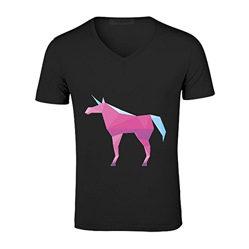 Pink Unicorn Men V Neck Tee Album Cover Black (Major Egyptian Gods)