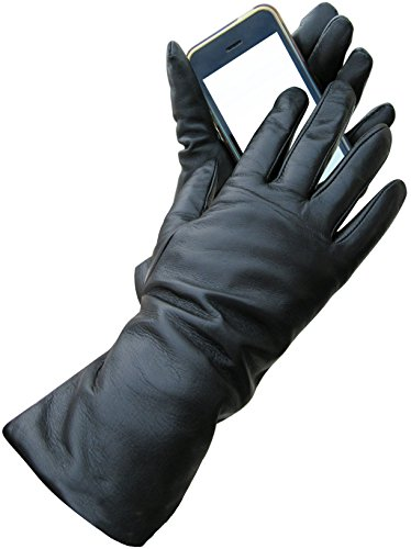 Fownes Women's Cashmere Lined Black Conductive Lambskin Leather Gloves 8/XL