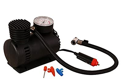 "250 PSI 12-volt Air Compressor W/air Pressure Gauge Included/ 20"" Air Hose / 2 Nozzle Adapters & 1 Sports Needle, Supply Guru"