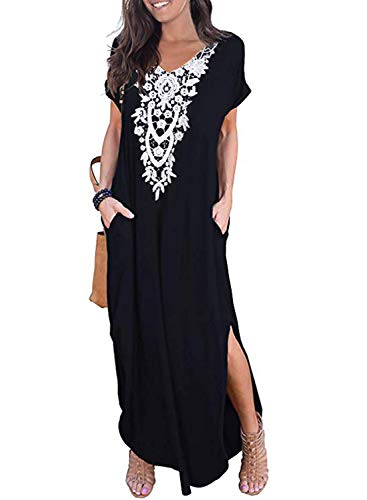 CANIKAT Women's Casual Loose V Neck Pocket Crochet Embroidered Front Long Dress Short Sleeve Solid Split Maxi Dresses Black M ()