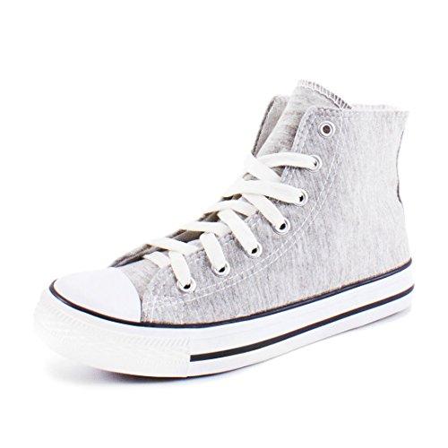 High Sneaker Textil Grau Schuhe Top Canvas Damen Turnschuhe fqycCH4y