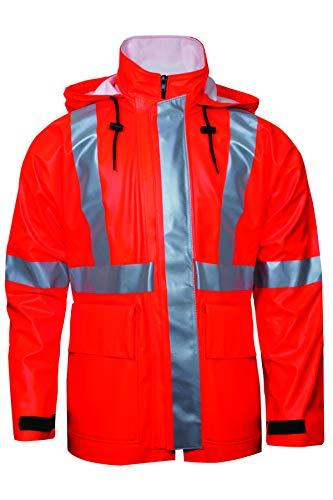 National Safety Apparel R30RQ063X Arc H20 Rain Jacket, FR Polyurethane Coated FR Cotton, 3X-Large, Orange
