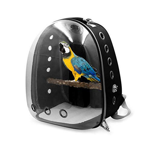 Bird Carrier Parrot Backpack Breathable Transparent Space Parrot Travel Cage Carrier with panoramic design Double-open zipper design anti-lost hook Soft Sided Travel Bird Carrier 13.7811.8117.72in