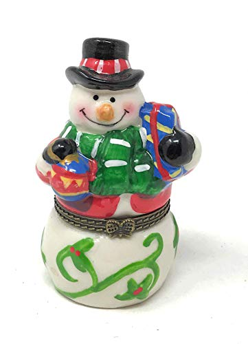 Porcelain Snowman with Gifts Trinket Box