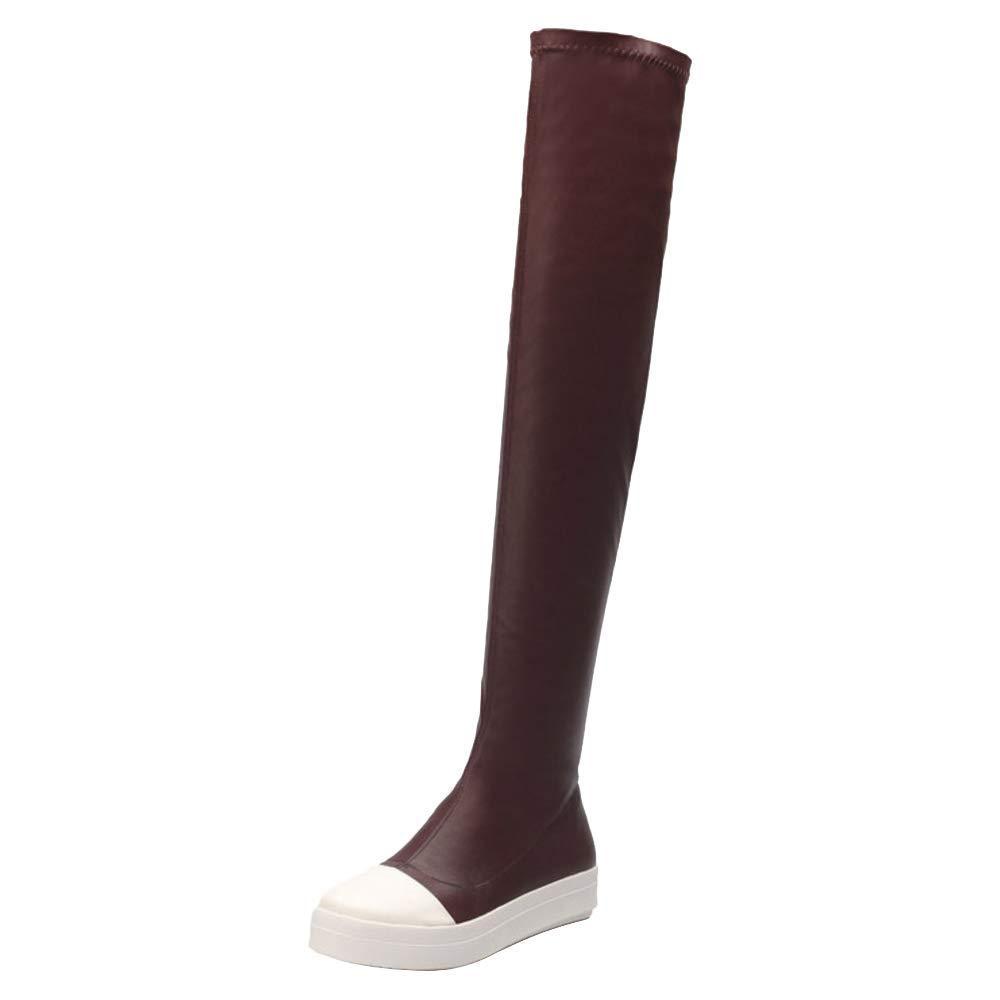 ZHRUI Damen Komfort Niedrige Ferse Oberschenkel Hohe Stiefel