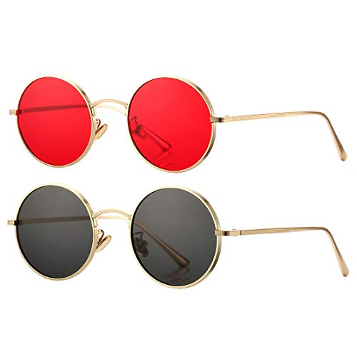 COASION Vintage Round Metal Sunglasses John Lennon Style Small Unisex Sun Glasses (Gold Frame/Red Lens + Gold Frame/Grey ()