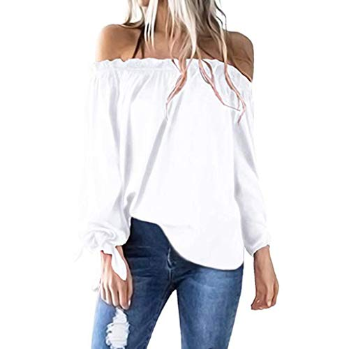 Price comparison product image Off Shoulder Tops,Toimoth Women Casual Boat Neck Long Sleeve Cold Shoulder T-Shirt Tunic Top Blouse (White,L)