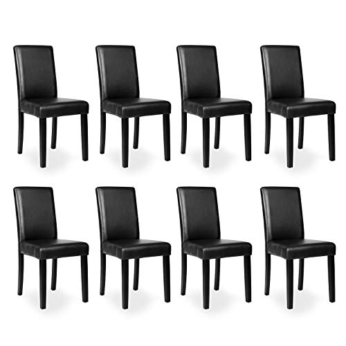 Mecor Dining Chairs Set of 8, Kitchen Leather Padded Chair with Solid Wood Legs Dining Room Furniture (8xBlack) (Dining Room Chairs 8)