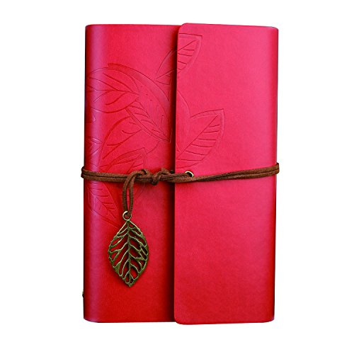 Vintage Style Leaf Leaves Pattern PU Cover Notepad Travel Journal Diary (Red) - 7