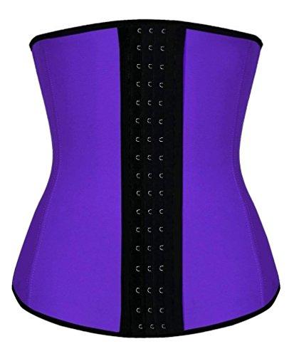 Camellias Mujer Waist Cincher Corsé Fajas Reductoras de Cinturón Firme de Formación Underbust Bustier para Purple Latex